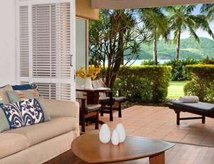 Outlook onto your private terrace from a Beach Club standard room