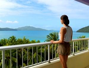 Catseye Beach view from the Coral Sea View balcony on Hamilton Island